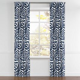 Blue Zebra Print Back Tab Curtains Close Up