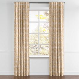 Gold Flower Medallion Back Tab Curtains Close Up