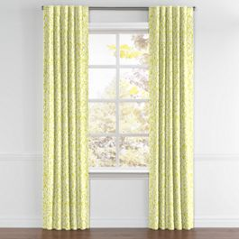 Lemon Yellow Brocade Back Tab Curtains Close Up