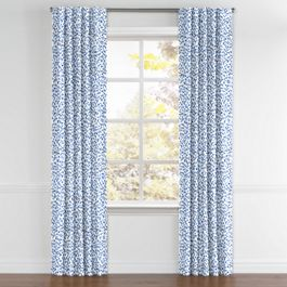 Blue Leopard Print Back Tab Curtains Close Up