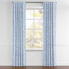 Blue Leopard Print Back Tab Curtains Close Up