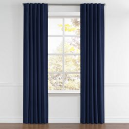 Navy Blue Velvet Back Tab Curtains Close Up