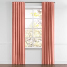 Coral Pink Velvet Back Tab Curtains Close Up