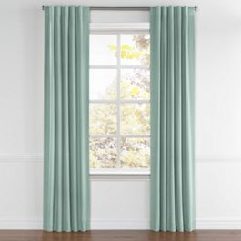 Seafoam Aqua Velvet Back Tab Curtains Close Up