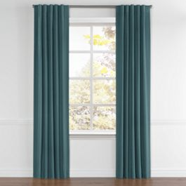 Dark Teal Velvet Back Tab Curtains Close Up