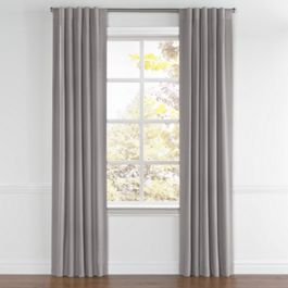 Heathered Gray Woven Blend Back Tab Curtains Close Up