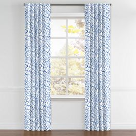 Blue & White Net Back Tab Curtains Close Up