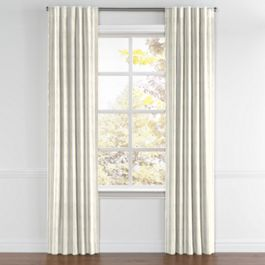 Embroidered Yellow Stripe Back Tab Curtains Close Up