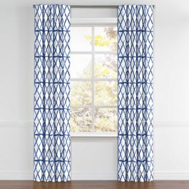 Blue Watercolor Diamond Back Tab Curtains Close Up