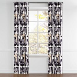 Black & White Brushstrokes Back Tab Curtains Close Up