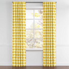 Bright Yellow Dot Back Tab Curtains Close Up