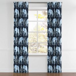 Navy Blue Elephant Back Tab Curtains Close Up