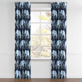 Navy Blue Elephant Back Tab Curtains Close Up