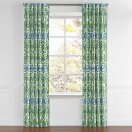 Green & Blue Ikat Back Tab Curtains Close Up