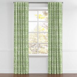 Green Watercolor Trellis Back Tab Curtains Close Up