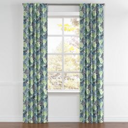 Green Hillside Floral Back Tab Curtains Close Up