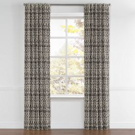 Tan & Black Tribal Print Back Tab Curtains Close Up