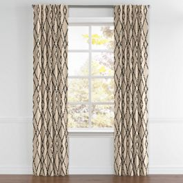 Black & Tan Tribal Trellis Back Tab Curtains Close Up