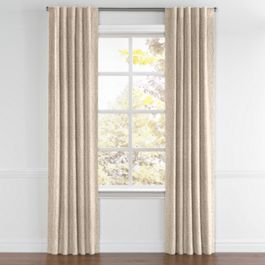 White & Tan Embroidery Back Tab Curtains Close Up
