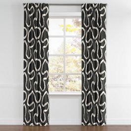 Charcoal Gray Ribbon Back Tab Curtains Close Up