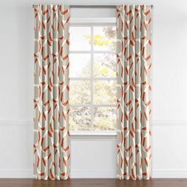 Orange Red Ribbon Back Tab Curtains Close Up