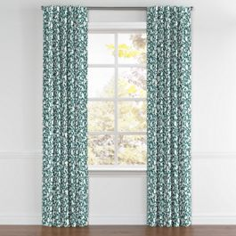 Blue Floral & Bird Back Tab Curtains Close Up