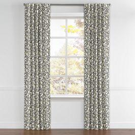 Dark Gray Floral & Bird Back Tab Curtains Close Up