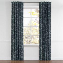 Navy Blue Cloud Back Tab Curtains Close Up
