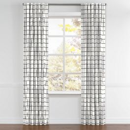 Black & White Check Back Tab Curtains Close Up