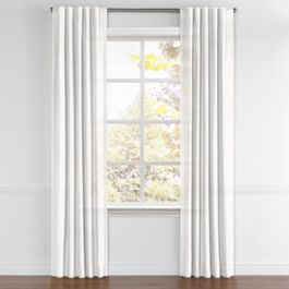 Warm White Gauzy Linen Back Tab Curtains Close Up