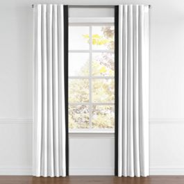 White Linen Back Tab Curtains with Black Leading Edge Border