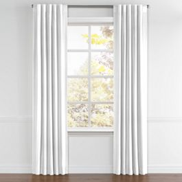 Bright White Linen Back Tab Curtains Close Up