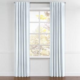 Powder Blue Linen Back Tab Curtains Close Up