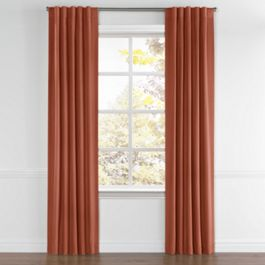 Dark Red-Orange Linen Back Tab Curtains Close Up
