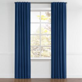 Dark Navy Blue Linen Back Tab Curtains Close Up