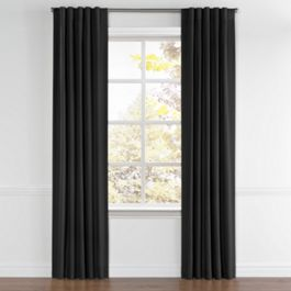Carbon Black Linen Back Tab Curtains Close Up