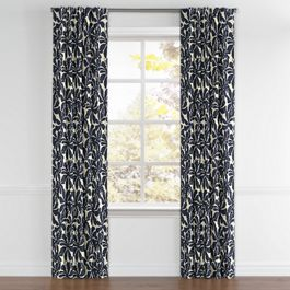 Navy Graphic Floral Back Tab Curtains Close Up