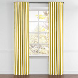 Yellow Awning Stripe Back Tab Curtains Close Up