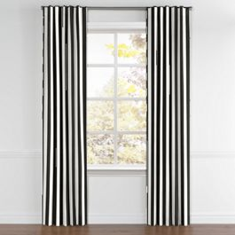 Black & White Awning Stripe Back Tab Curtains Close Up
