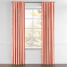Red Awning Stripe Back Tab Curtains Close Up