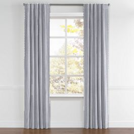 Navy & White Stripe Back Tab Curtains Close Up