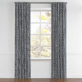 Navy Blue Floral Lattice Back Tab Curtains Close Up