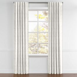 White & Gray Marled Back Tab Curtains Close Up