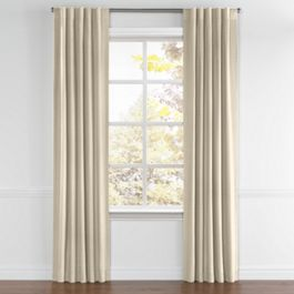 Tan Sunbrella® Canvas Back Tab Curtains Close Up