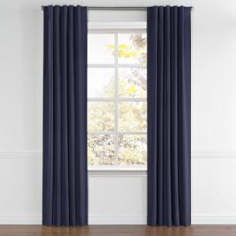 Navy Blue Sunbrella® Canvas Back Tab Curtains Close Up