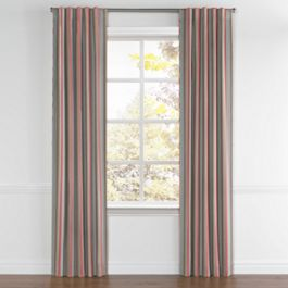 Red Blue Tan Stripe Back Tab Curtains Close Up