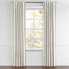 Gray Awning Stripe Back Tab Curtains Close Up
