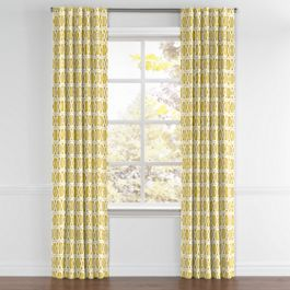 Bright Yellow Trellis Back Tab Curtains Close Up
