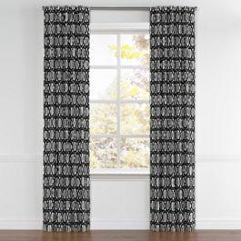Black & White Trellis Back Tab Curtains Close Up