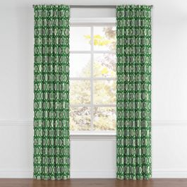Emerald Green Trellis Back Tab Curtains Close Up